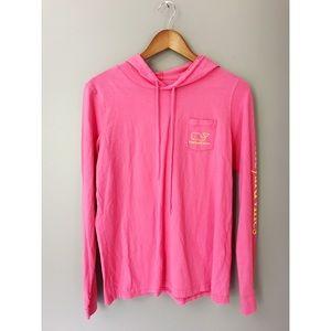 •Vineyard Vines• Hoodie Tee Whale Logo Pink Yellow